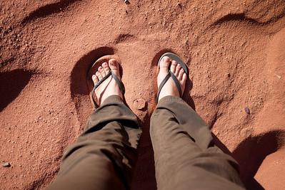 The dark red sands of Wadi Rum, Jordan