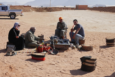 Sitting around the fire-pit in Wadi Rum, Jordan
