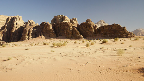 Huge rocks and desert sands in Wadi Rum, Jordan