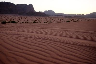 Wind blown desert sands in Wadi Rum, Jordan