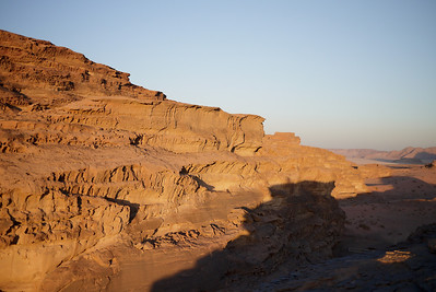 The sun setting in Wadi Rum Desert, Jordan
