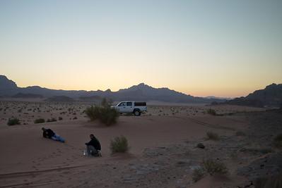 Ali and Rami ham it up on the sand dunes in Wadi Rum, Jordan