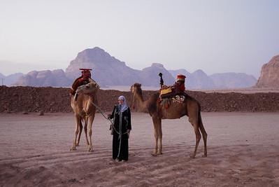Prepping for an early morning desert sunrise ride in Wadi Rum, Jordan