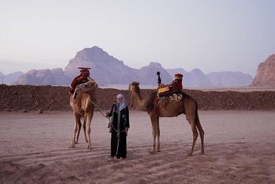 Prepping for an early morning desert sunrise ride in Wadi Rum, Jordan