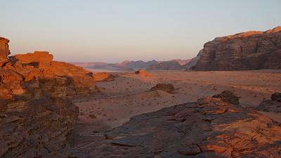 Vast and open spaces in Wadi Rum as the sun sets. Jordan