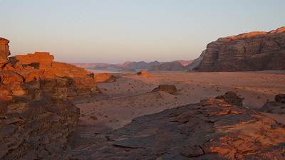 Vast and open spaces in Wadi Rum as the sun sets. Jordan