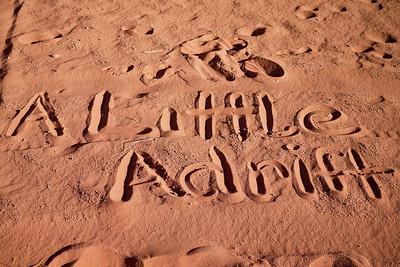 A Little Adrift in the sand deserts of Wadi Rum, Jordan