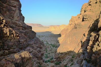 Pinks and blues as the sunsets over Wadi Rum, Jordan