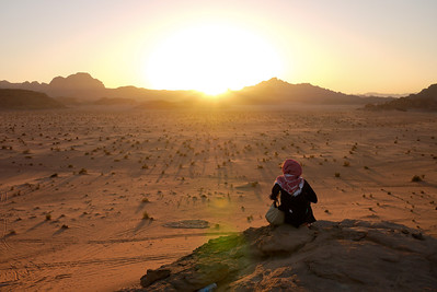 The sun setting over Wadi Rum Desert, Jordan