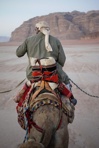 A Bedouin at sunrise in Wadi Rum, Jordan