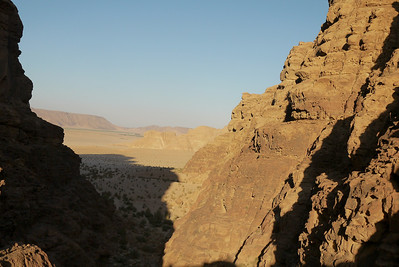 Sunset through a valley in Wadi Rum, Jordan
