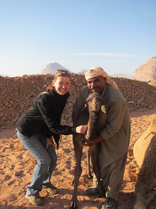 Shabula let's me pet the 4 week old baby camel at Captain's Desert Camp in Wadi Rum, Jordan.