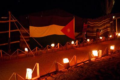Lantern-lit campsite at Captains Desert Camp in Wadi Rum, Jordan