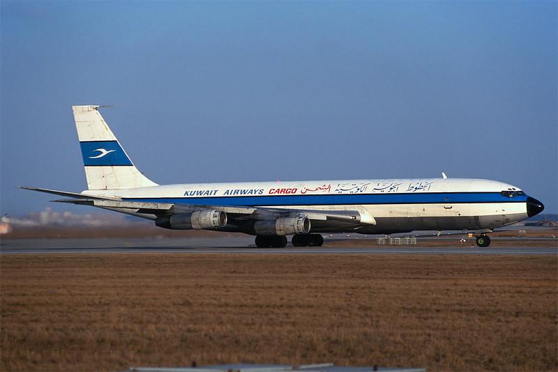 """OD-AGY Boeing 707-327C """"TMA/Kuwait Airways Cargo"""" c/n 19105 Frankfurt/EDDF/FRA 01-02-97 (35mm slide)"""