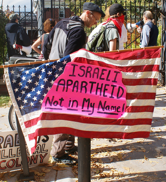 Demonstrators gathered outside the Governor's Mansion in Denver to protest a luncheon for the Jewish National Fund, hosted by Colorado Governor John Hickenlooper. (10/25/13)