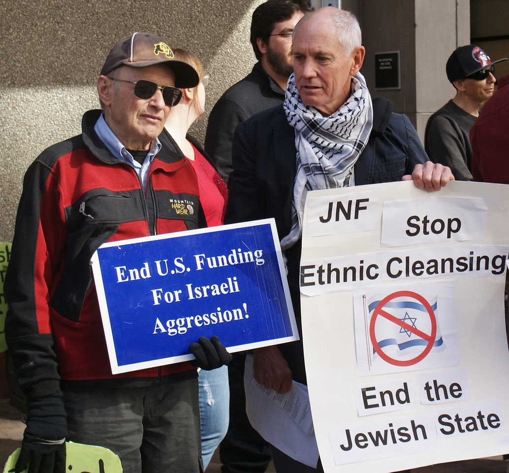 Demonstrators gather outside a downtown Denver hotel where the Jewish National Fund was holding a 4 day conference.
