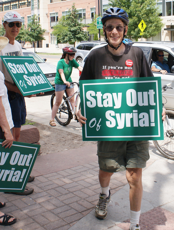 Protest against attack on Syria, Boulder Co, 7/20/13.