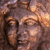 Female Face - Roman Relief detail 5C AD<br /> Hierapolis, Turkey