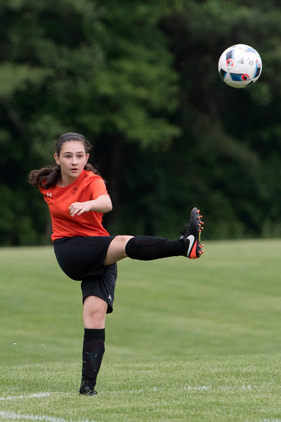 Rachel Perioli in bounds the ball on a corner kick.