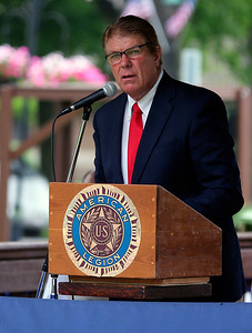 JOHN KLINE | THE GOSHEN NEWS Retired educator Mitch Miller provides the keynote address during the Memorial Day service at Memorial Park in downtown Middlebury Monday morning.