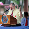JOHN KLINE | THE GOSHEN NEWS<br /> Middlebury American Legion Post 210 member Albert Mitchell provides the invocation during the Memorial Day service at Memorial Park in downtown Middlebury Monday morning.