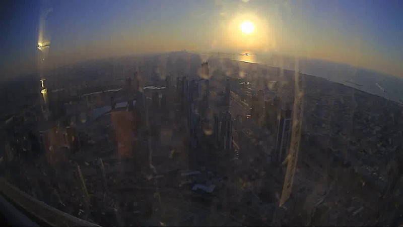Sunset timelapse video from the observation deck of the Burj Khalifa.  Lots of reflections and dirt on the glass but still pretty cool! Burj Khalifa, Dubai