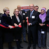 The president of Middlesex Community College James Mabry cuts the ribbon to open its new cybersecurity lab on the Lowell campus Monday morning. With him from left in frint is Provost Phil Sisson, Senator Eileen M. Donoghue, Congresswoman Niki Tsongas, President Mabry, Associate Professor of Computing & Engineering Technology Syeda Frerdous A. Begum and Assistiant Dean of STEM Donald Brady. Just behind them is MCC Trustee James Hicks and State Rep. David Nangle. SUN/JOHN LOVE