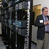 Middlesex Community College Assistant Dean of STEM Donald Brady talks about their servers for the new cybersecurity lab on the Lowell campus. SUN/JOHN LOVE