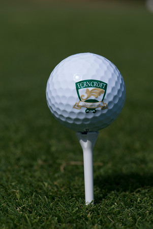 JIM VAIKNORAS/Staff photo A golf ball inprinted with eth Ferncroft Logo sits on the first tee at the course.