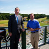 JIM VAIKNORAS/Staff photo Ron Rice general Manager and Phil Leiss director of golf on the new roof deck at Ferncroft.