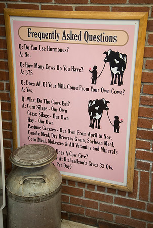JIM VAIKNORAS/Staff photo A sign with FAQ at Richardson's with all you need to know about the cows,
