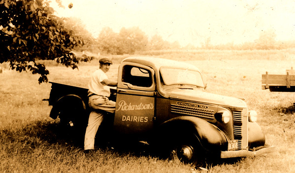 A worker gets in a company truck at Richardson's in the 1930's