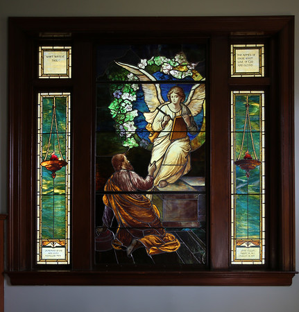 "KEN YUSZKUS/Staff photo.      One of the three Middleton's Flint Public Library's stained glass windows. This one is named ""Abou Ben Adhem"".    05/18/16"