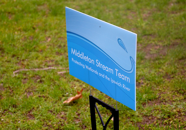 JIM VAIKNORAS/Staff photo The sign for the Stream Team at a Steam Team event at Creighton Pond in Middleton.