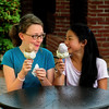 JIM VAIKNORAS/Staff photo Nora Rockwell, left, 11, who is having a 2 scoop cone with chocolate on top and vanilla  bean on the botton and her friend Shayla Schafer, 12, who is having black rasberry on top and vanilla bean on the botton at Richardson's in Middleton.The duo live in Rockport and are students at Rockport Middle School. They are visiting Nora's grandmother Middleton resident Shirley Hamilton.