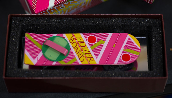 JIM VAIKNORAS/Staff photo A mini Hover Board from Back To the Future $9.95 at Nick's Comicaly Speaking