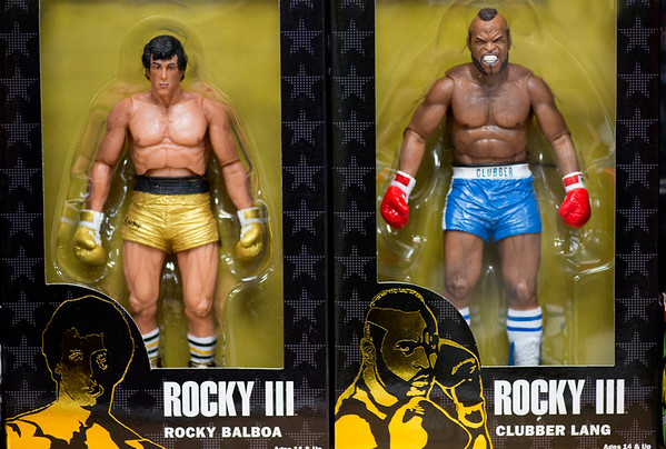 """JIM VAIKNORAS/Staff photo Two Rocky 3 action figues """"Rocky Balboa"""" and """"Clubber Lang"""" $19.95 each at Nick's Comicaly Speaking"""