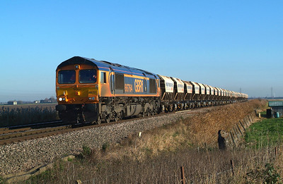 Following GBRf's announcement on 31st August 2016 that new super-duper wagons were on order to replace these old-stagers , I was determined to make an effort for one picture of them at least.  66764 Turves 29.11.2016 11.51Hrs.  6E84 08.29 Middleton Towers-Monk Bretton Redfearns. Mission accomplished.  Unfortunately, coinciding with the news release, I was off the road for a couple of months following a serious accident , and that, coupled with having injections into my eye ,meant I was doubly pleased that I was sufficiently fit, sort of, to manage the 2 hour each way drive from home to get the shot.