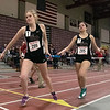 The Midland Wachusett Division B League Meet was held at Fitchburg High School Saturday, Feb. 1, 2020. Groton Dunstable Regional High School's #206 Hannah Webb gets ready to take the baton from teammate #205 Michelle Valasquez during the 4x800. SENTINEL & ENTERPRISE/JOHN LOVE