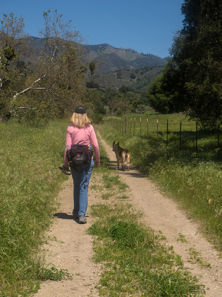 PETE'S WIFE, DIANA, AND DOG CODY WALKING TO THE RES