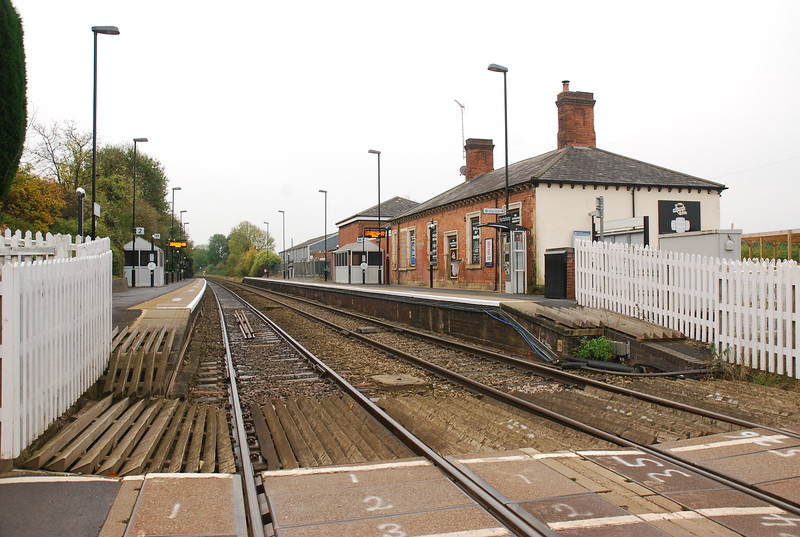 Hartlebury station from the road crossing looking towards Worcester <br /> <br /> Shrub Hill