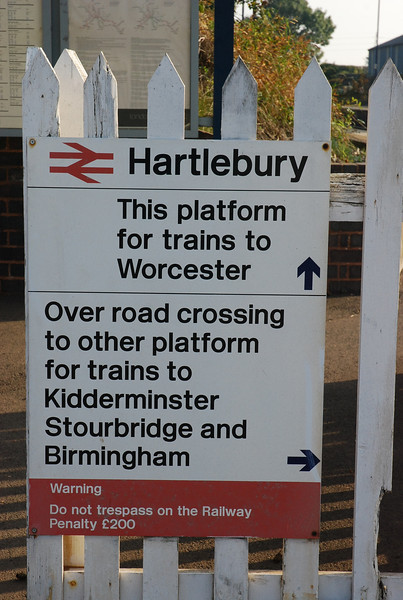 Classic Ghost Station sign showing which platform for which train