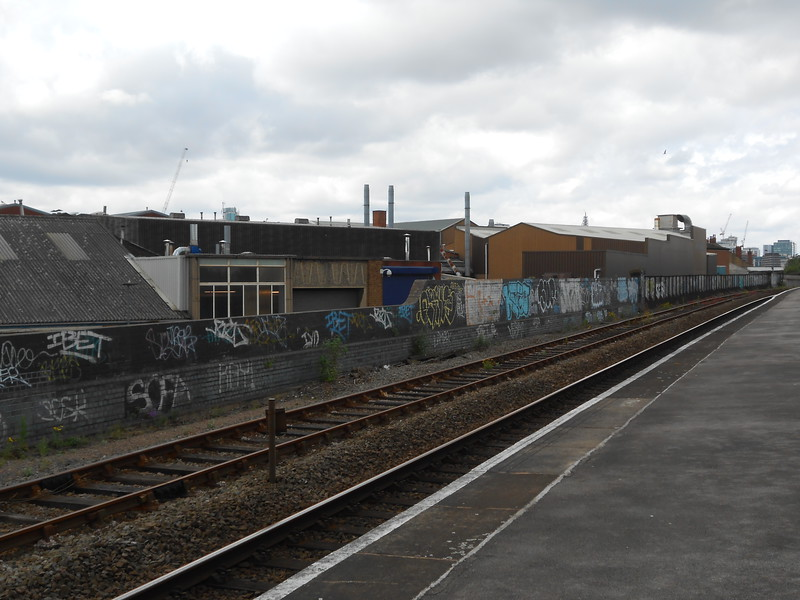some of the many buildings and graffitti on the Snow Hill bound <br /> <br /> platform 2