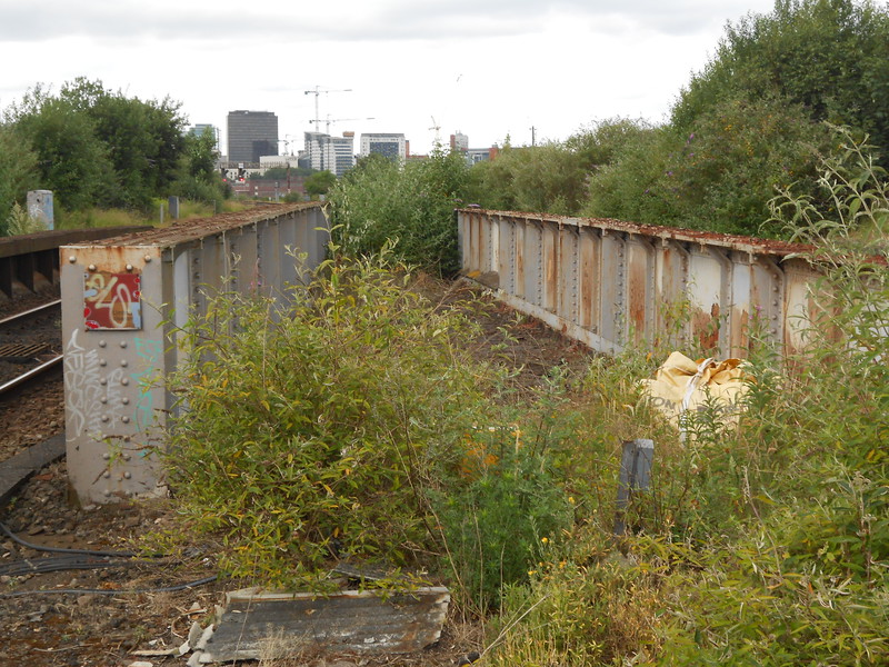 Bridge Girders that go over Coventry road and signs of the now long <br /> <br /> gone tracks that once ran through here