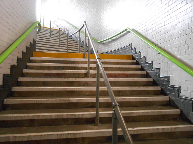 Looking back up the stairs to the exit onto the platform
