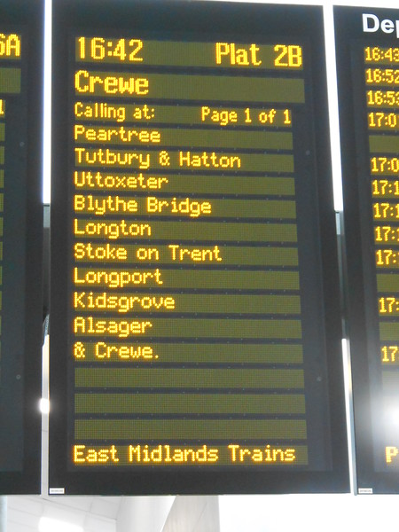 Derby station destination board showing one of only two trains to stop <br /> <br /> at Peartree in Peak hours