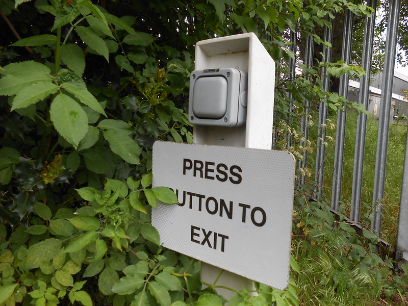 Pic by Liz <br /> <br /> The button you have to press to unlock the gate so you can get out