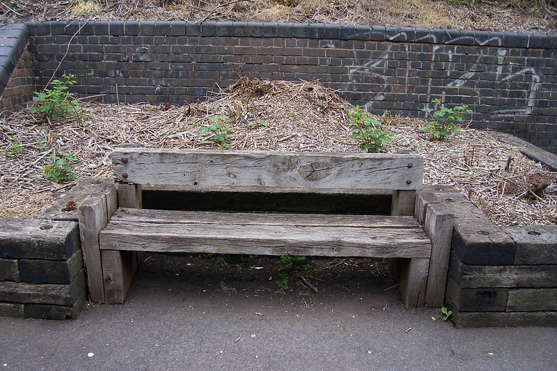 Like most Ghost stations you quite often get a seat to sit on but <br /> <br /> Peartree goes one better with this rather rustic wodden seat on the <br /> <br /> Derby Bound Platform