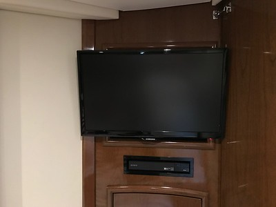 Aft cabin swing out tv and Blu Ray player
