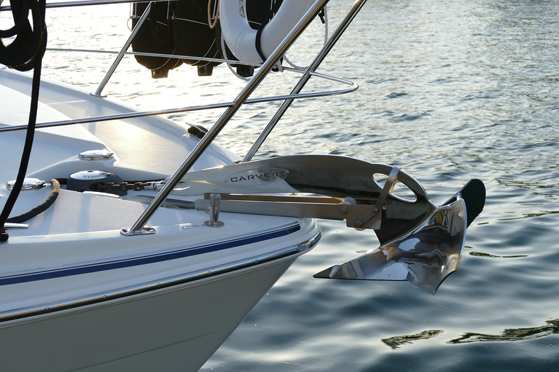 Chrome Polished 55lb Carver Anchor. Also have a 25lb Mantus anchor for the rear.